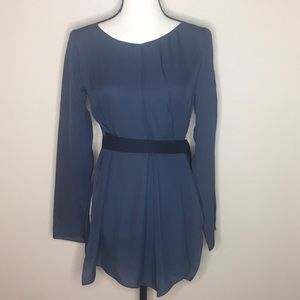 Zara Woman Blouse Sz S Dark Blue Attached Belt